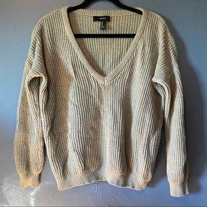 Forever 21 V-Neck Knit Sweater Blue Medium